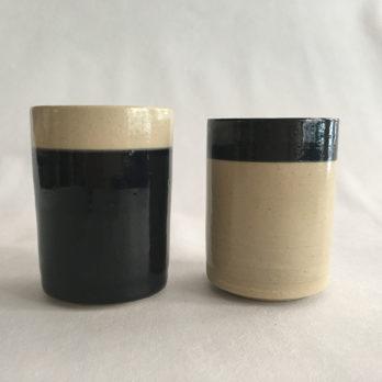 Tea mug céramique grès black and white